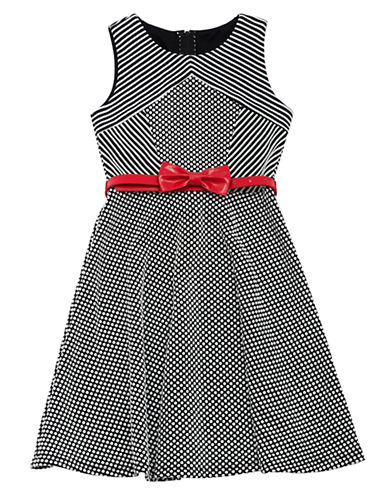 RARE EDITIONSGirls 7-16 Stripe and Dot Knit Dress