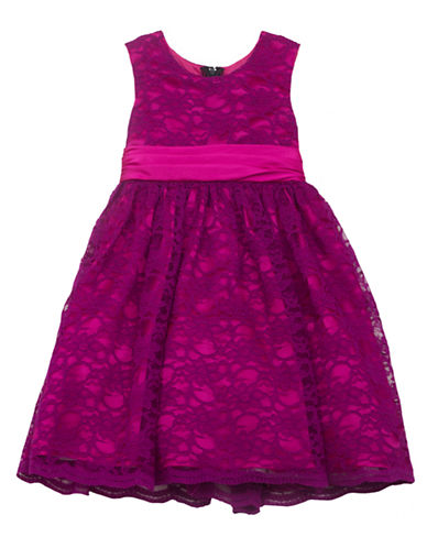 RARE EDITIONS Girls 2-6x Magenta Floral Lace Dress
