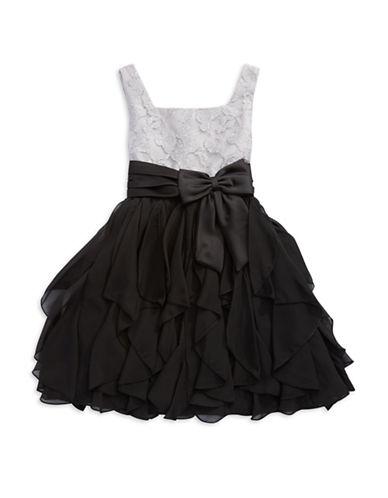 RARE EDITIONSGirls 7-16 Sparkle Lace and Black Cascade Ruffle Dress