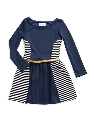 RARE EDITIONS Girls 7-16 Color Blocked and Striped Dress