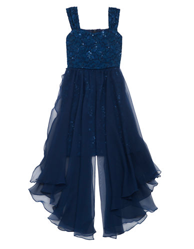 RARE EDITIONS Girls 7-16 Sequined Floral Lace Dress with Chiffon Panels