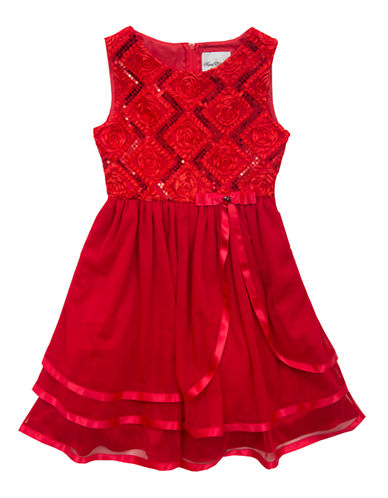 RARE EDITIONS Girls 7-16 Red Soutache Tiered Dress
