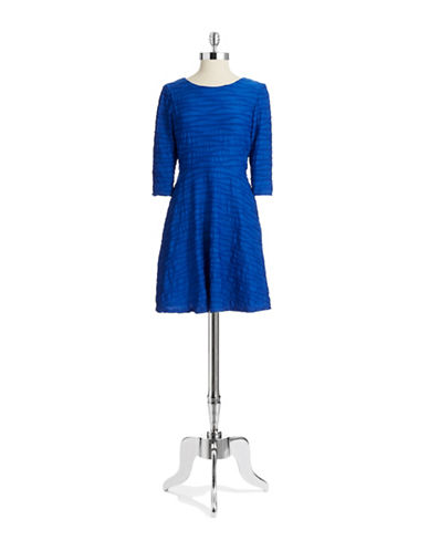 DONNA MORGANTextured Wave Stripe Fit and Flare Dress