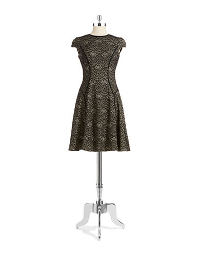 MAGGY LONDONLace Overlay Fit and Flare Dress