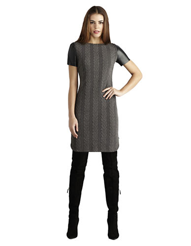 DONNA MORGAN Cable Knit Faux Leather Sleeve Shirt Dress