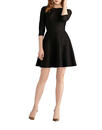 DONNA MORGANPleated Fit and Flare Dress