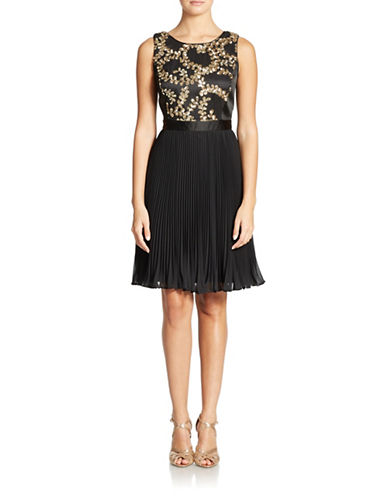 MUSESequined Dress with Pleated Skirt