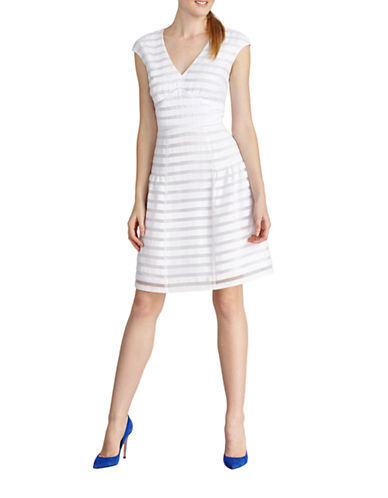 DONNA MORGAN Striped Fit and Flare Dress
