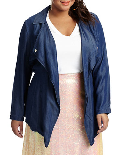 Estelle Metallic Draped-Front Jacket plus size,  plus size fashion plus size appare