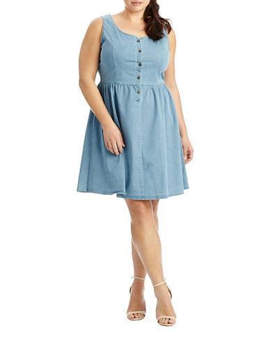 Denim Fit and Flare Dress plus size,  plus size fashion plus size appare