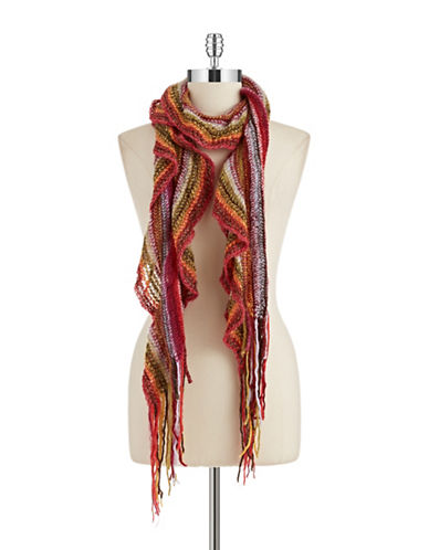 JOOLAY Striped Ruffle Scarf
