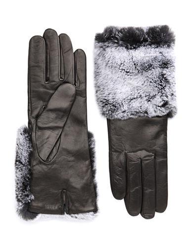 CAROLINA AMATOFaux Fur-Trimmed Leather Gloves