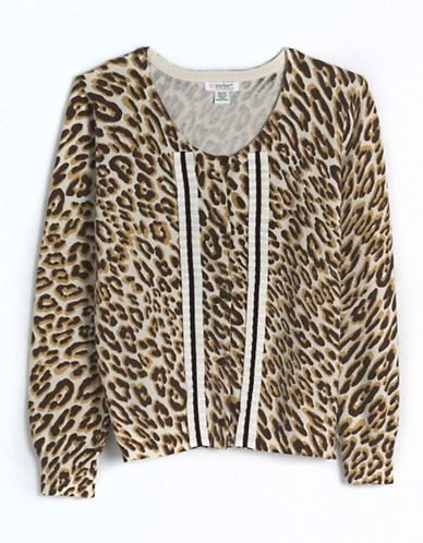 Tweens 7-16 Cotton Leopard Print Cardigan