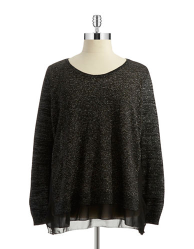 Dkny Jeans Plus Plus Sheer Accented Metallic Sweater