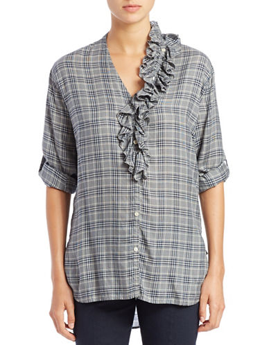 DKNY PURE Ruffle-Trim Plaid Shirt