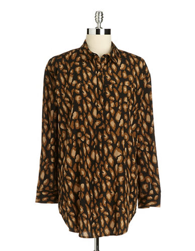 DKNY Printed Drop-Shoulder Blouse