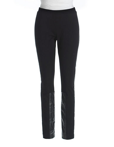 DKNYLeather-Accented Ponte Pants