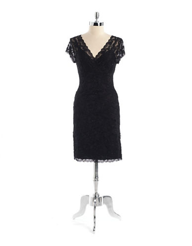 MARINA Petite Lace Cap Sleeve Dress