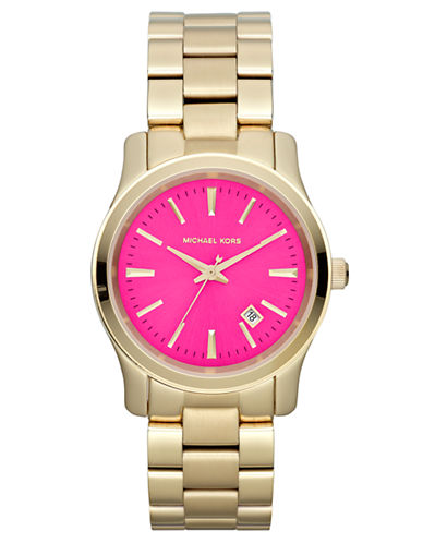 MICHAEL KORS Ladies Runway Gold-Tone Watch with Pink Dial