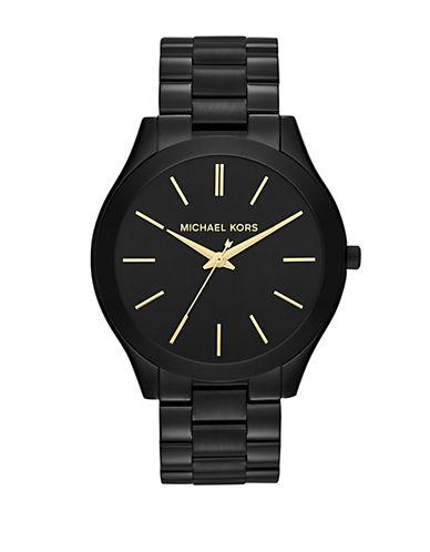michael kors female slim runway black ip stainless steel bracelet watch