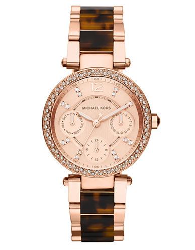 MICHAEL KORSLadies Parker Rose Gold Tone and Tortoise Chronograph Glitz Watch