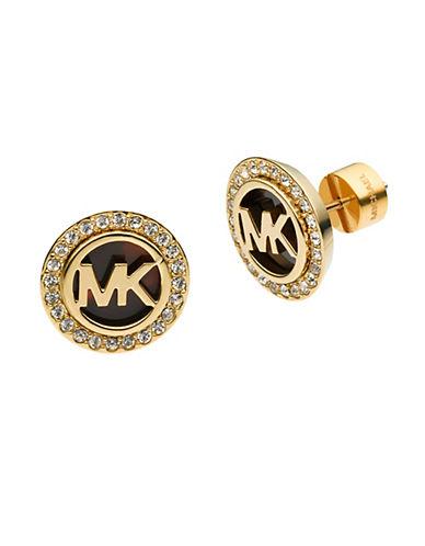 MICHAEL KORSGold Tone and Tortoise MK Stud Earrings
