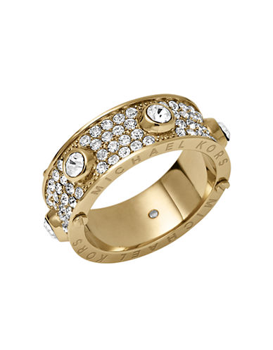 MICHAEL KORS Gold-Tone Crystallized Astor Ring