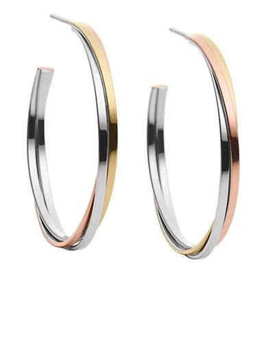 michael kors female  medium whisper tritone stacked hoop earrings