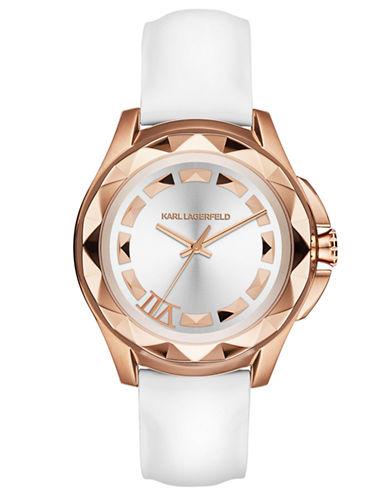 KARL LAGERFELDLadies Karl 7 Rose Gold Tone Pyramid Stud and Patent Leather Watch