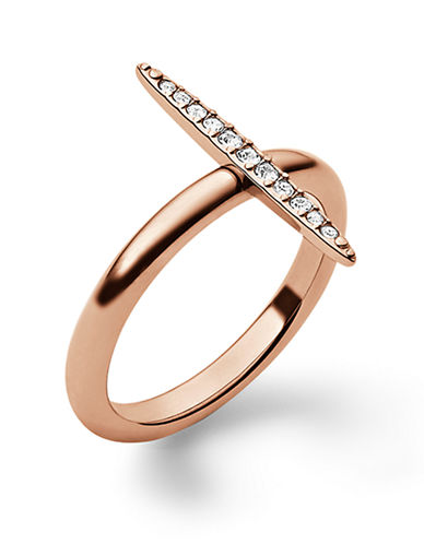 MICHAEL KORSRose Gold Tone and Crystal Pave Matchstick Ring