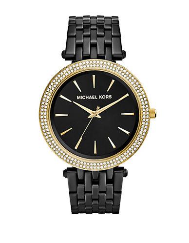michael kors female darci paveacute goldtone black ip stainless steel bracelet watch