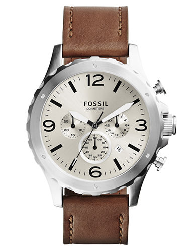 FOSSILMens Nate Stainless Steel Chronograph Watch