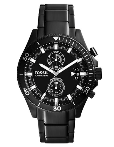 FOSSIL Mens Wakefield Black Plated Stainless Steel Watch