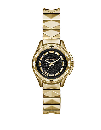 KARL LAGERFELD Ladies Karl 7 Gold Tone Pyramid Link Bracelet Watch