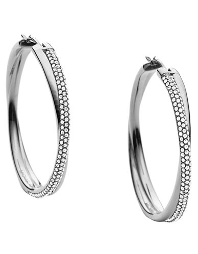 325d0b87b UPC 796483114012 product image for Michael Kors Silver Tone and Crystal  Pave Crossover Hoop Earrings ...