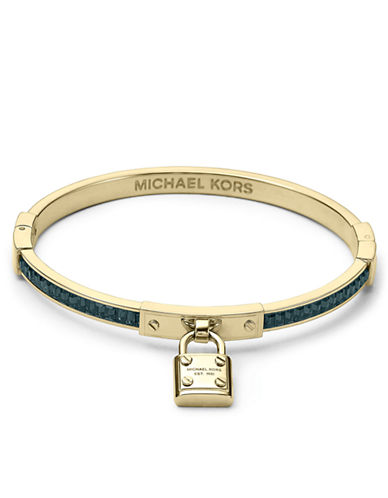 MICHAEL KORS Gold Tone Padlock Charm Bangle Bracelet