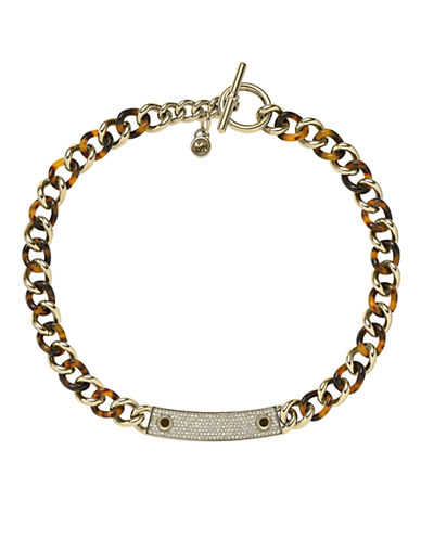 MICHAEL KORS Gold Tone and Crystal Pave Logo Plaque Bracelet