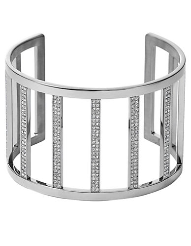 MICHAEL KORS Silver Tone and Crystal Bar Cuff Bracelet