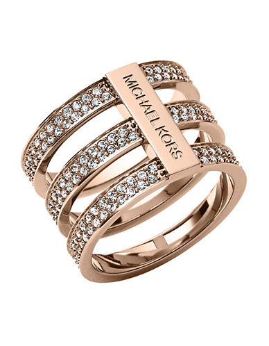 MICHAEL KORSRose Gold Tone and Crystal Tiered Ring