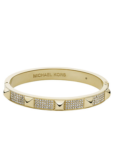 MICHAEL KORS Gold Tone and Crystal Pyramid Stud Bangle Bracelet
