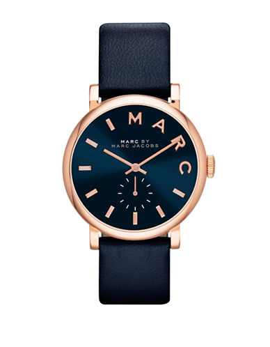 marc jacobs female 236621 ladies baker rose goldtone and navy watch