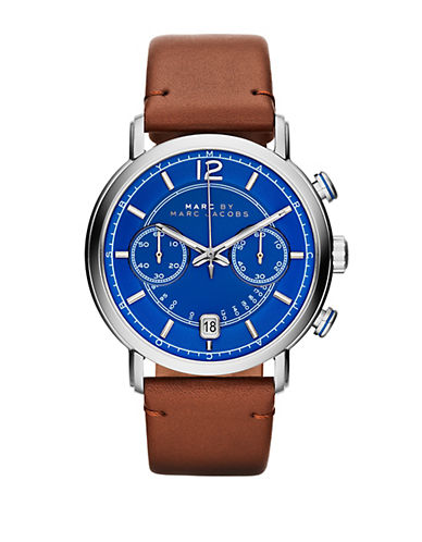 MARC BY MARC JACOBS Mens Fergus Stainless Steel and Leather Watch