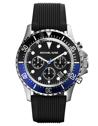 MICHAEL KORSMens Everest Stainless Steel Watch with Ribbed Silicone Strap