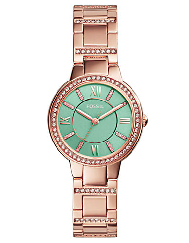 FOSSIL Ladies Virginia Rose Gold Tone Watch