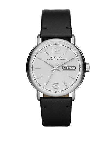 MARC BY MARC JACOBSMens Fergus Stainless Steel Watch with Leather Strap