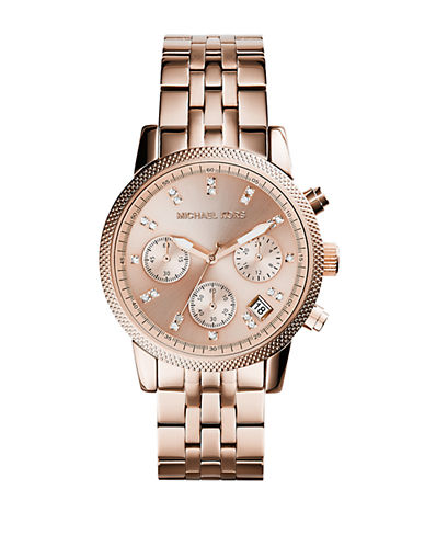 Michael Kors Ladies Ritz Rose Gold Tone Chronograph Watch