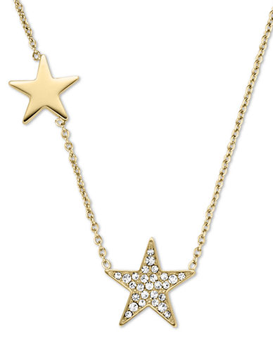MICHAEL KORS Gold Tone and Glitz Star Station Necklace