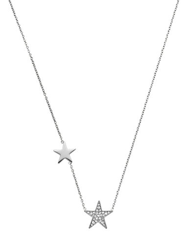 MICHAEL KORS Silver Tone and Glitz Star Station Necklace