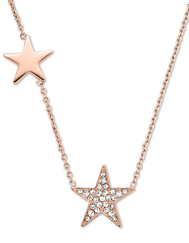 MICHAEL KORS Rose Gold Tone and Glitz Star Station Necklace