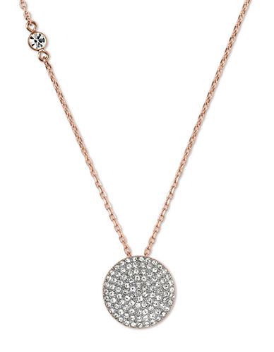 MICHAEL KORS Rose Gold-Tone and Clear Glitz Disc Pendant Necklace